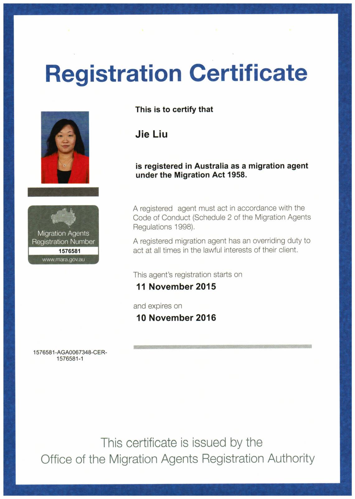 MARA Certificate